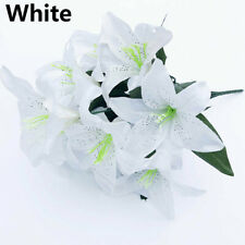 10 Heads Silk Lilies Artificial Flowers Fake Bouquet Bunch Wedding Party Decors~