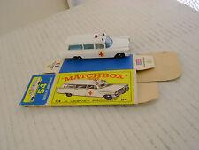 MATCHBOX LESNEY #54B S&S CADILLAC AMBULANCE WITH ORIGINAL BOX