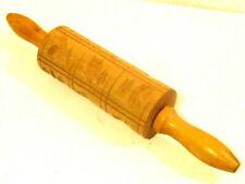 Vintage Wood Springerle Rolling Pin 12 Designs Baking Cookies.