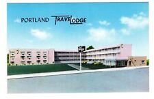 TraveLodge PORTLAND OR Downtown Automobiles Vintage 1950's Chrome Postcard