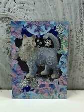 "ACEO Artist Trading Card ""Beautiful Glitter Cat"" Handmade Stickers & Glitter"