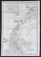 1780 Rigobert Bonne Original Antique Map NW Africa Morocco to Senegal Canary Is.