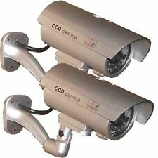 2x Dummy Security Camera Fake Waterproof LED Light Home Surveillance Outdoor