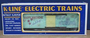 K-Line O27kc16  Blue Girls Train add-on Boxcar Happy Birthday Ashley TCA '93 NIB