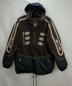 Bogner Mens Western Embroidered Ski Snowboard Jacket Coat Large Brown Hooded Zip