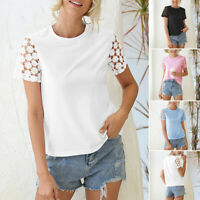 UK Women Short Sleeve Blouse T-Shirt Tops Ladies Crew Neck Pullover Floral Tee