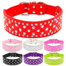 "2"" Wide Bling Rhinestone Dog Collars Soft PU Leather Medium Large Dogs Necklace"