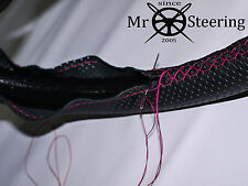 FOR WOLSELEY 16/60 PERFORATED LEATHER STEERING WHEEL COVER HOT PINK DOUBLE STICH