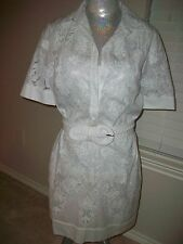 Elie Tahari WHITE Embroidered Partially Sheer Dress WHITE SILK SLIP NWT $698