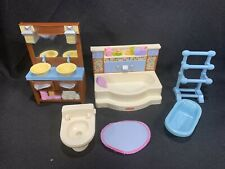2008 Mattel FISHER PRICE Loving Family Dollhouse Bathroom Toilet Bathtub Sink