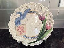 Vintage Fitz & Floyd Just For You Plate Omnibus Pink Rose Floral Lace Design