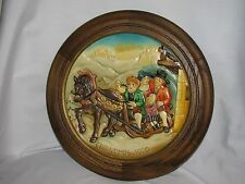 Beautiful Anri Wood Carved Christmas Plaque 1980