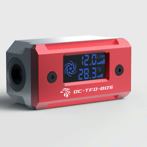 Digital Monitor Flow Meter Thermometer For DIY Water Cooling System Red 2021 New