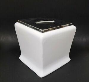NEW WHITE PORCELAIN,SILVER CHROME METAL ACCENT TISSUE HOLDER,NAPKIN BOX