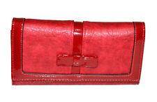 Portefeuille rouge femme faux cuir porte-monnaie clutch bag sac à main vernis G3