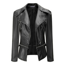 Women Punk FAUX LEATHER JACKET Zipper Biker Jacket Ladies Blazer Coat Size 6-18