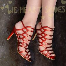 Womens Metallic Cage Sandals High heel Shoes Multi strap Heels Party 20352