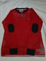 A Tiziano Long Sleeve 3 Button Sweat Shirt Red White Blue Elbow Pads Mens Sz 3XL
