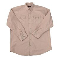 Roper Mens Size 2XLT Tall Pink & White Long Sleeve Pearl Snap Western Shirt