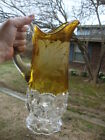 Antique Vtg Cut to Clear Yellow Crystal Tankard Glass Pitcher