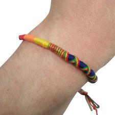 Cotton Rainbow Bracelet Wristband Bangle Mens Womens Ladies Boys Girls Jewelry
