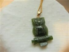 """CANADIAN GREEN JADE NEPHRITE OWL PENDANT GOLD FILLED CHAIN MADE CANADA 1.1/4"""""""
