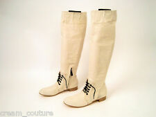 Authentic Reed Krakoof Off White Tall Canvas Lace up Boots Size 37 / 7