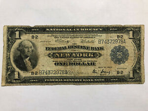 1914 $1 One Dollar Federal Reserve note New York Blue Seal Serial # B74372978A