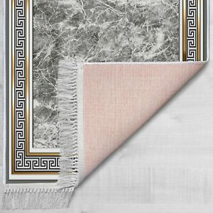 Gray Marble Designed Greek Key Printed Living Room and Bedroom Area Rugs CNK2404