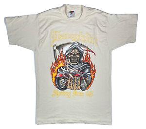 VTG 1998 Laughlin Spring Run Biker Rally Motorcycle Flames Reaper Mens T Shirt L