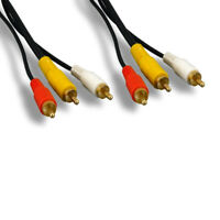 Kentek 25' 3-RCA Gold Plated Cord Male to Male Video Audio for PC TV CAM DVD VCR