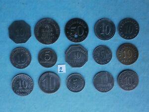 15 verschiedene Notgeldmünzen 1917- 1920 Kriegsgeld 1. Weltkrieg Lot 2