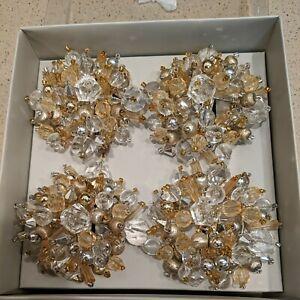 NEW Set of 4 Kim Seybert Napkin Rings Cluster Bead Gunmetal-