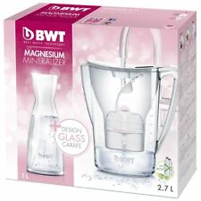 BWT 2.7L Water Filter Jug with Mg2+ Longlife 120L Cartridge & Glass Carafe White