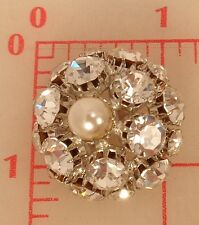 1 vintage large domed rhinestone button pearl center silver crystal 30mm 442