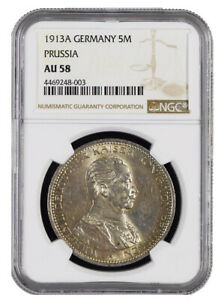 1913 A German States PRUSSIA 5 Mark KM# 536 NGC Choice AU 58 Condition