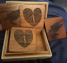 4 Wooden Turtle/Lily Pad Coaster Set In Heavy Ceramic/Wood Box W/ Felt Bottom