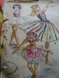 Vtg 1959 McCall's Girls Dance Costume Pattern 2360 / Sz 8 Ballerina/ Tutu /Hat