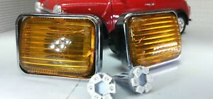 Austin Rover Classic Mini LED Chrome Smoked Amber Wing Indicators Lights Set