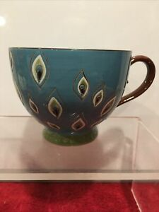 Pier 1 One Imports PEACOCK Hand Painted Footed Coffee Mug Cup Dolomite