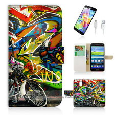 ( For Samsung S5 ) Wallet Case Cover Graffiti and Motocycle P0144