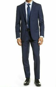 Ted Baker Endurance Jay Men's Two Button Wool Suit Navy Plaid Size 44 L / 37