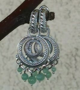 Judith Ripka Small Hoop Earrings With Removable Green Jade Charm Sterling Silver