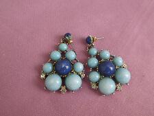 BOUCLES D'OREILLES BANANA REPUBLIC, Bleu Turquoise Chandeliers Diamanté, à Clous