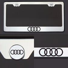 T304 Chrome Audi Logo Black Letter Laser Etched Engraved License Plate Frame Tag
