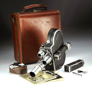 Vtg PAILLARD BOLEX H 16mm MOVIE CAMERA w/ 3 lenses & Case - 34661