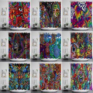 "71"" Psychedelic Arabesque Shower Curtain Hippie Fantasy Trippy Fabric Bath Decor"