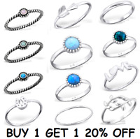 Sterling Silver 925 Simple Stacking Midi Ring Toe Knuckle Top Finger Opal