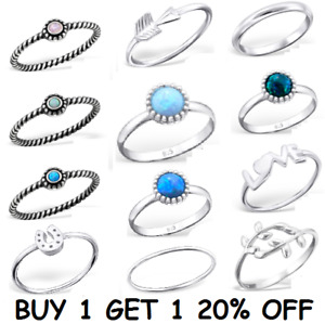 **STERLING SILVER** 925 Simple Stacking Midi Ring Toe Knuckle Top Finger Opal