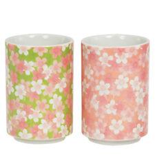 "2 PCS. Japanese 4""H Sushi Tea Cups Gift Set Sakura Cherry Blossom, Made in Japan"
